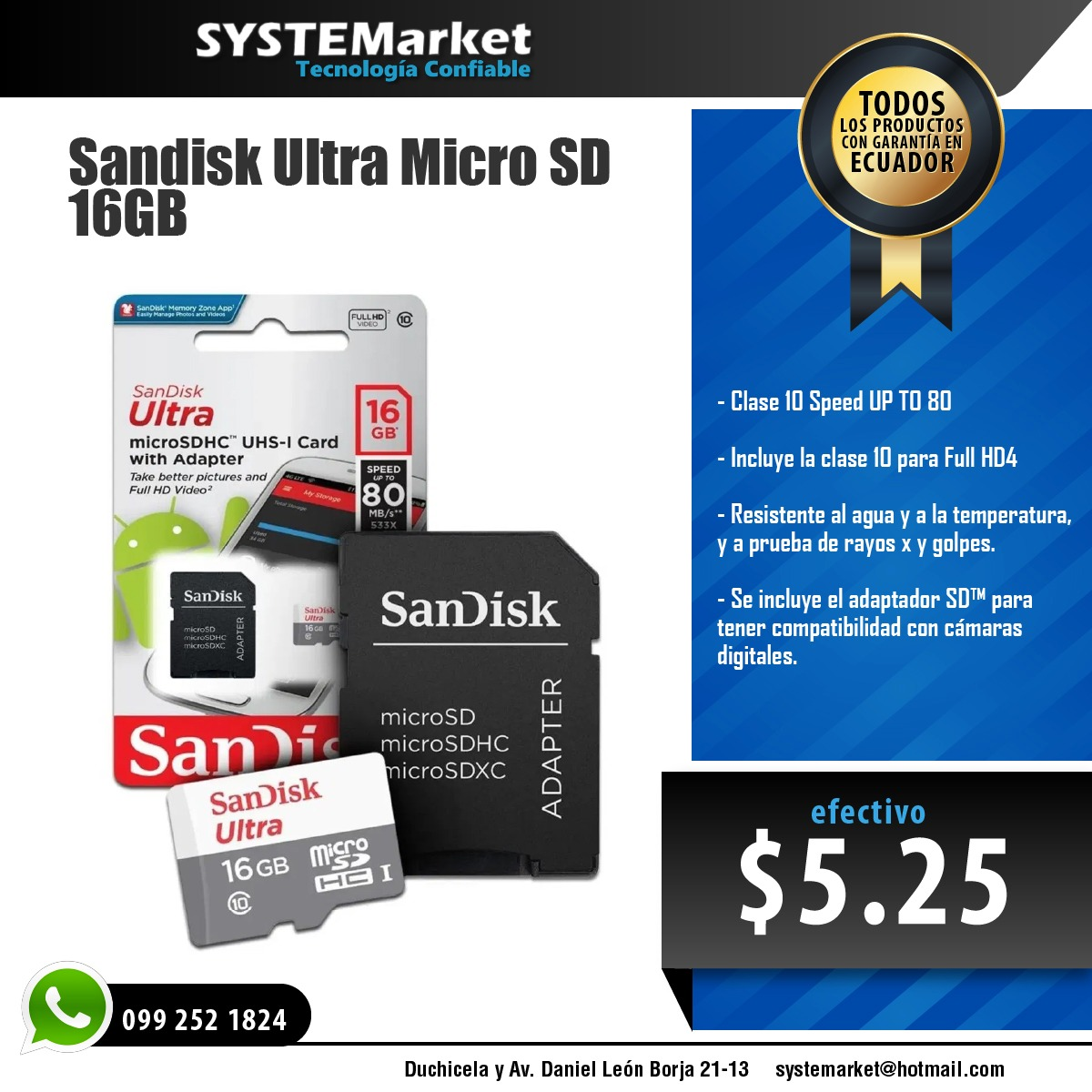 MICRO SD SANDISK 16 GB